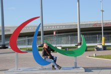 Who wants to take a picture with the Olympic rings, if you can take one with the symbol of the Paralympics!?!